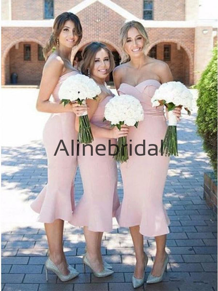 Newest Popular Pink Mermaid Sweatheart Short Bridesmaid Dresses AB4222