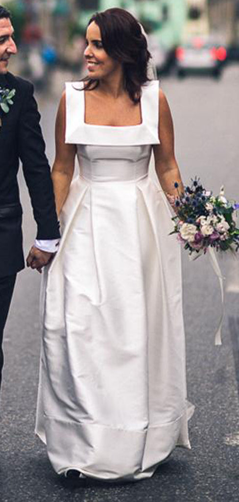 Newest Unique Square Neck Sleeveless A-line Simple Satin Cheap Wedding Dress, AB1107