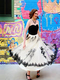 Newest Simple Strapless Tulle A-line Black Lace Appliques Halloween Prom Dresses,PD00009