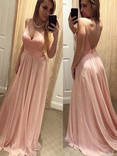 Newest V-neck Backless Sexy A-line Evening Party Bridal Gown Prom Dresses,PD0084