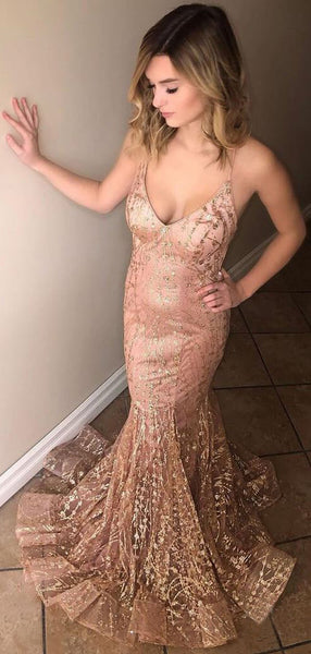 Nude Saprkly Lace Spaghetti Strap Backless Mermaid Prom Dresses.PD00256