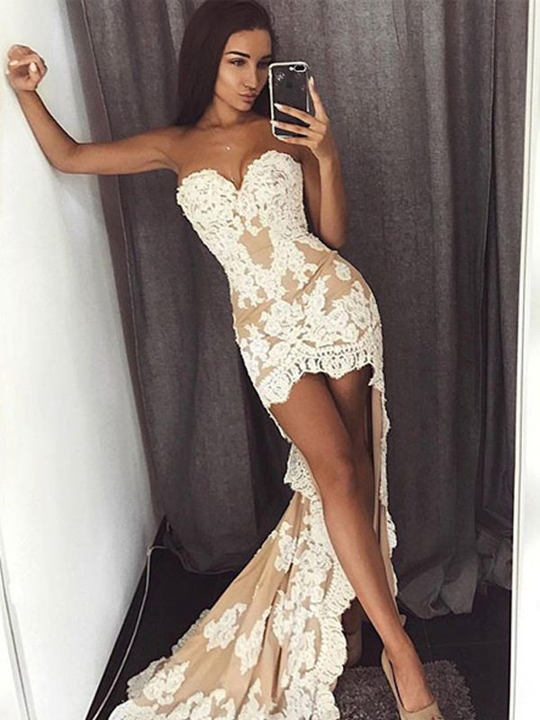 Nude Sweetheart Strapless Ivory Lace Sheath High Low Sexy Elegant Prom Dresses,PD0137