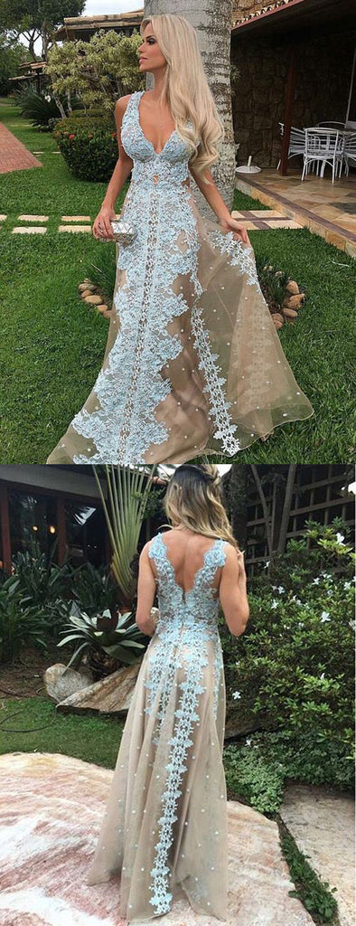 Nude Tulle Blue Applique A-line Sleeveless Charming Prom Dresses.PD00228