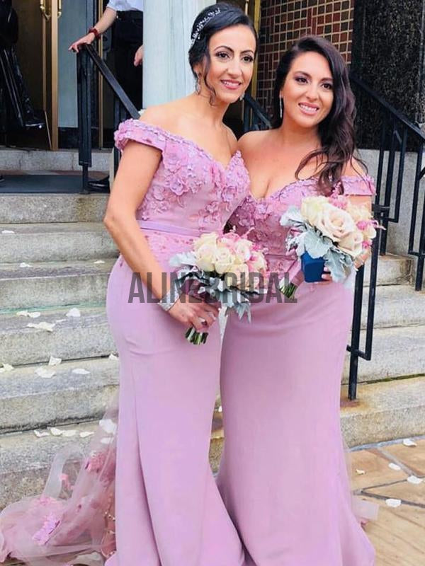 Off Shoulder Dusty Rose Applique Mermaid Fashion Bridesmaid Dresses , AB4014