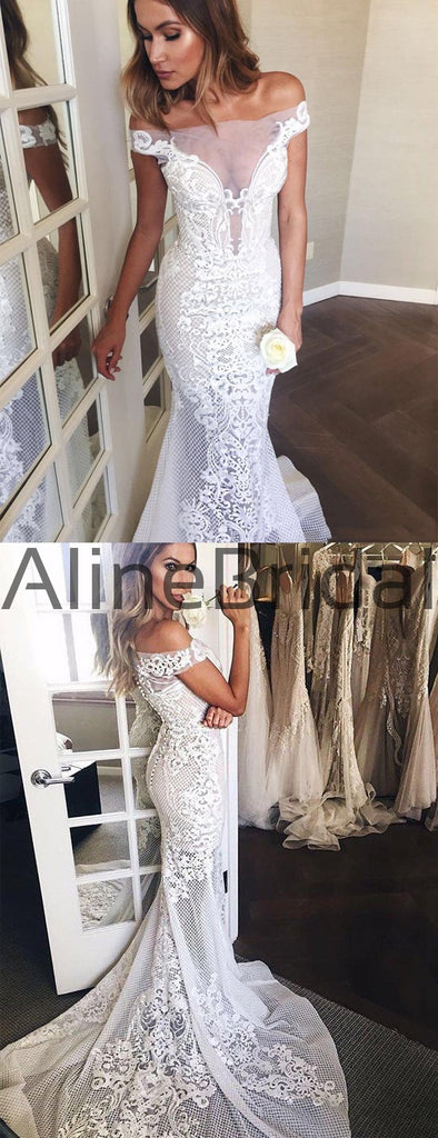 Off Shoulder Gorgeous Lace Mermaid Train Wedding Dresses, AB1524