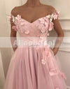 Off Shoulder Handmade Flower With Beads Pink Tulle Sweet Prom Dresses ,PD00100