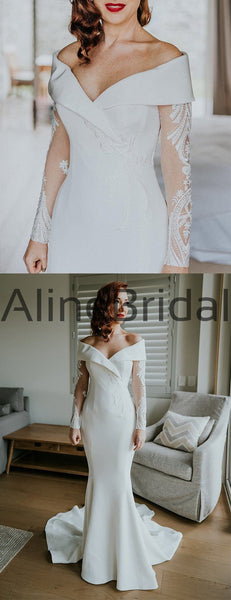 Off Shoulder Illusion Long Sleeve Beading Lace Satin Mermaid Wedding Dresses, AB1571