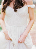 Off Shoulder Ivory Chiffon A-line Beach Wedding Dresses. AB061