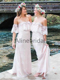 Off Shoulder Lace Light Pink Boho Wedding Bridesmaid Dresses, AB4061