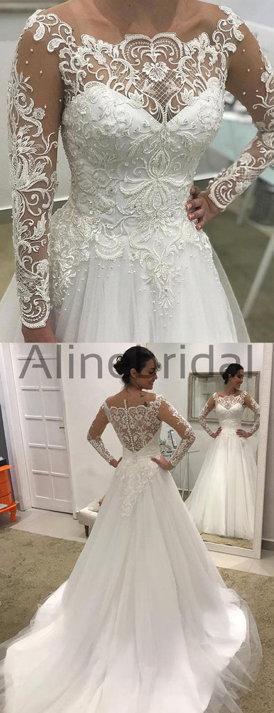 Off Shoulder Long Sleeve Lace Tulle Ball Gown Wedding Dresses , AB1507
