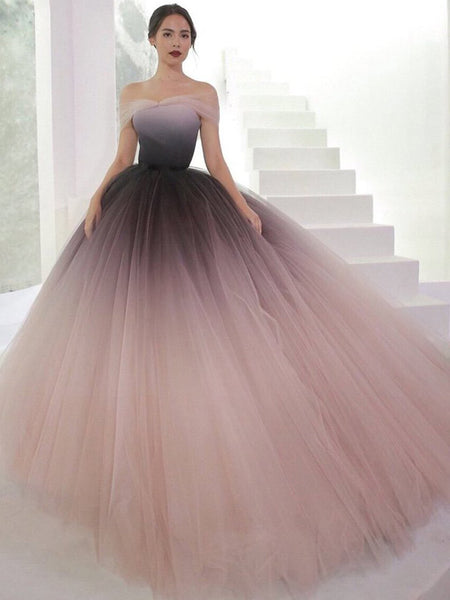 Off Shoulder Ombre Purple Pink Tulle Ball Gown Prom Dresses,PD00316