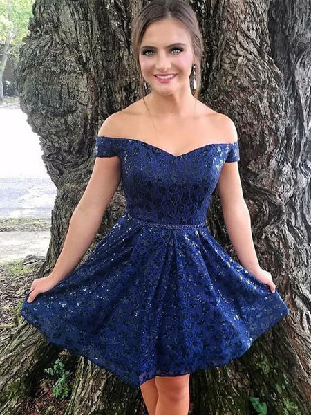Off Shoulder Royal Blue Sequin Lace Homecoming Dresses,HD0049