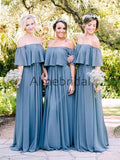 Off Shoulder Sky Blue Chiffon Boho Wedding Bridesmaid Dresses, AB4086