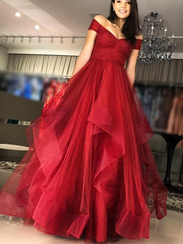 Off Shoulder Sparkly Red Sequin Tulle Ruffles Ball Gown Prom Dresses.PD00261