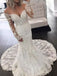 Off Shoulder Stunning Lace Illusion Long Sleeve Mermaid Vintage Wedding Dresses, AB1561