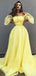 Off Shoulder Yellow Tulle Applique Unique Fashion Prom Dresses,PD00368