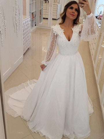 products/Off_White_Chiffon_Beading_Sheer_Long_Sleeve_A-line_Wedding_Dresses_AB1537-1.jpg