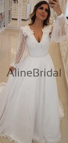 products/Off_White_Chiffon_Beading_Sheer_Long_Sleeve_A-line_Wedding_Dresses_AB1537-2.jpg