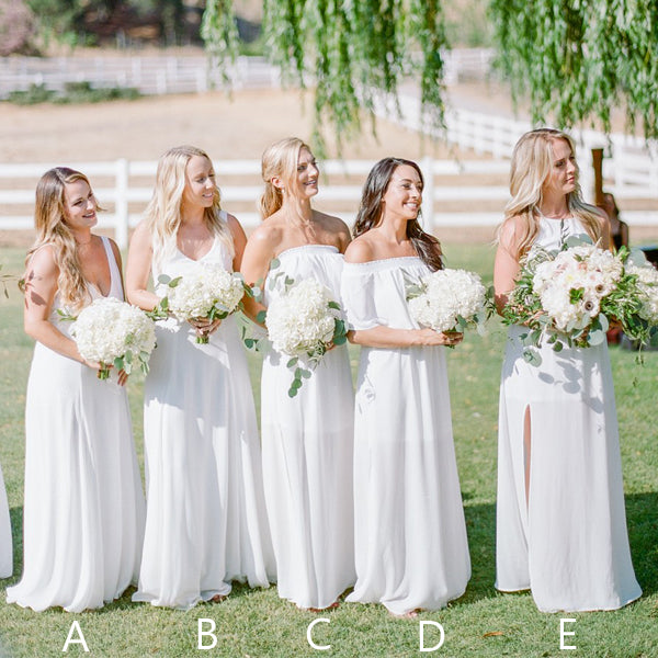Off White Chiffon Mismatched Simple Boho Wedding Long Bridesmaid ...
