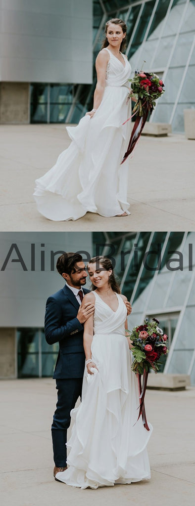 Off White Chiffon Open Back Sleeveless A-line Beach Wedding Dresses, AB1569