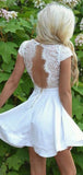 Off White Lace Short Sleeve Open Back Homecoming Dresses,HD0046