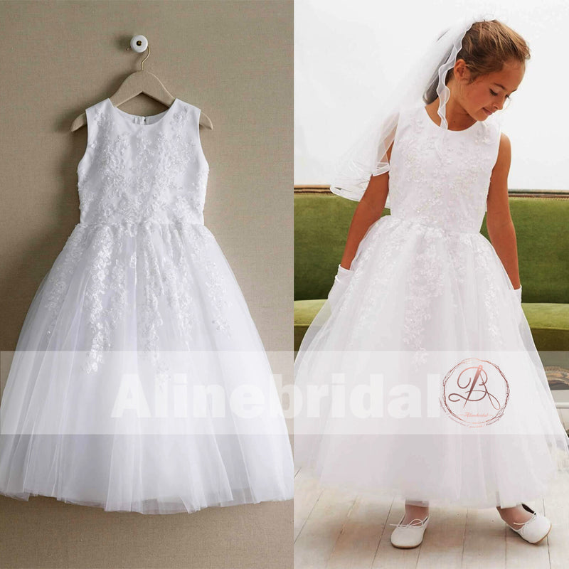 Off White Lace Tulle Classic Round Neck Flower Girl Dresses, FGS061