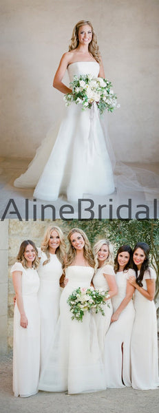 Off White Organza Strapless Simple Wedding Dresses, AB1551