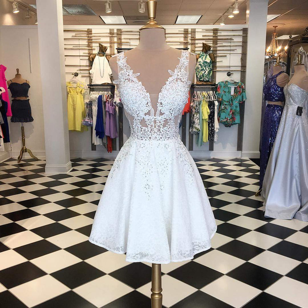 White Lace Bead See Through Sleeveless Fashion Homecoming Dresses,PD0179