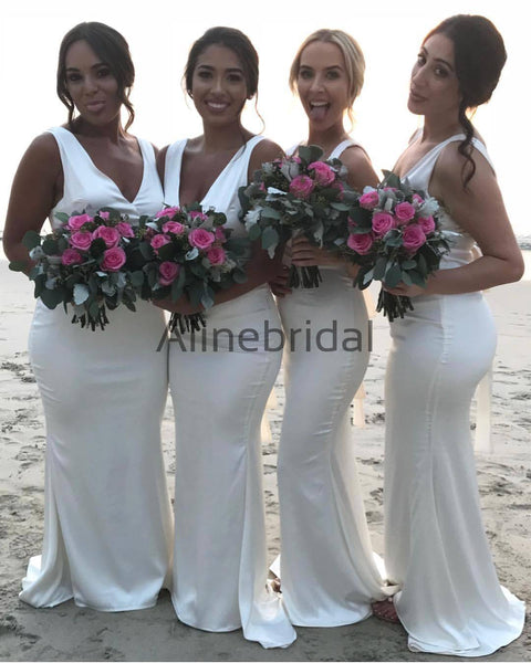 Off White Simple V-neck Sleeveless Mermaid Bridesmaid Dresses, AB4005