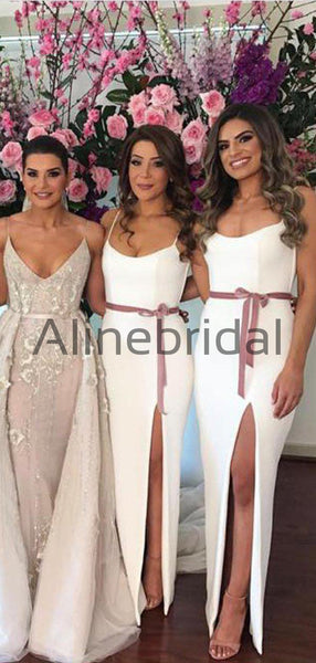 Off White Spaghetti Strap Slit Sheath Rose Ribbon Bridesmaid Dresses, AB4058