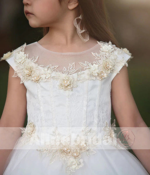 Off White Tulle Ivory Applique With Beads Cap Sleeve Long Flower Girl Dresses, FGS089