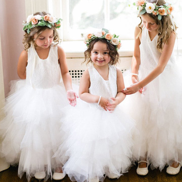 Off white tulle lace top ruffles criss cross back lovely flower girl off white tulle lace top ruffles criss cross back lovely flower girl dresses fg065 mightylinksfo