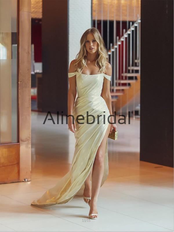 Off the Shoulder Side Slit Formal Mermaid Fashion Prom Dresses PD1012