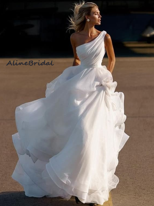 Classic One-shoulder Organza A-line Long Wedding Dress, WD3047