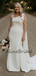 One-shoulder With Queen Anne Mermaid Floor-length Wedding Dress, WD3012