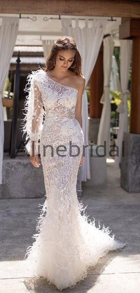 One Shoulder Mermaid Lace Modest Long Wedding Dresses WD0580