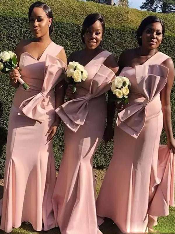One Shoulder Pink Mermaid Long Bridesmaid Dresses AB4253