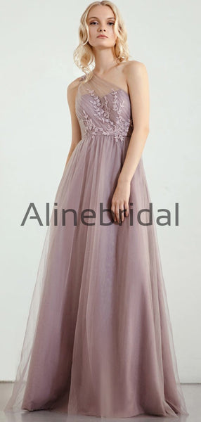 One Shoulder Tulle Long Elegant Formal Bridesmaid Dresses AB4246