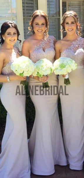 One Shoulder Lace Mermaid Elegant Bridesmaid Dresses, AB4023
