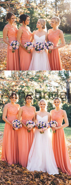 Orange Chiffon Lace Round Neck Sleeveless A-line Bridesmaid Dresses , AB4110