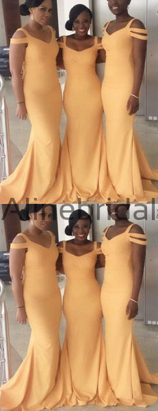 Orange Jersey Off Shoulder Mermaid Long Cheap Bridesmaid Dresses, AB4088