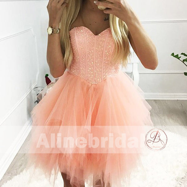 Orange Pink Sparkly Beaded Top Ruffles Tulle Strapless Homecoming Dresses ,HD0009