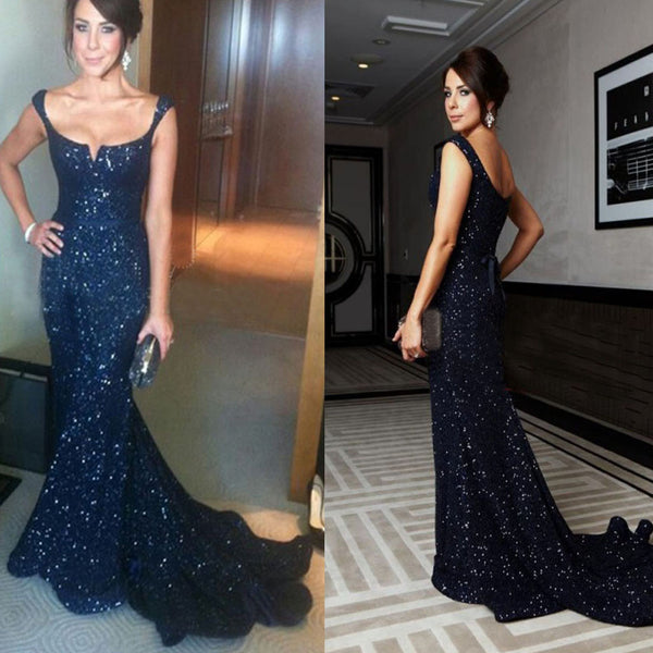 New Arrival Navy Sequin Sparkly Sexy Elegant Formal Evening Party Prom Gown Dress.  PD0205