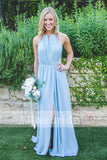 Pale Blue Chiffon Simple Cheap Bridesmaid Dresses With Silt. AB1208