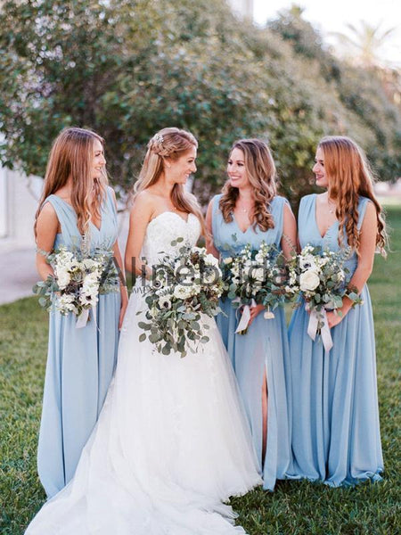 Pale Blue Chiffon Sleeveless V-neck Slit Long Bridesmaid Dresses , AB4127