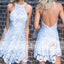 Pale Blue Lace Halter Unique Open Back Mini Homecoming Dresses,BD00234