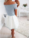 Pale Blue Lace Ivory Satin Off Shoulder Short Sleeve Homecoming Dresses,BD0061