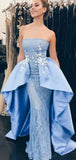 Pale Blue Lace Satin Straplee Dechable Overskirt Fashion Prom Dresses ,PD00132
