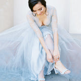 Pale Blue Lace Tulle Half  Sleeve A-line Wedding Dresses,AB0220