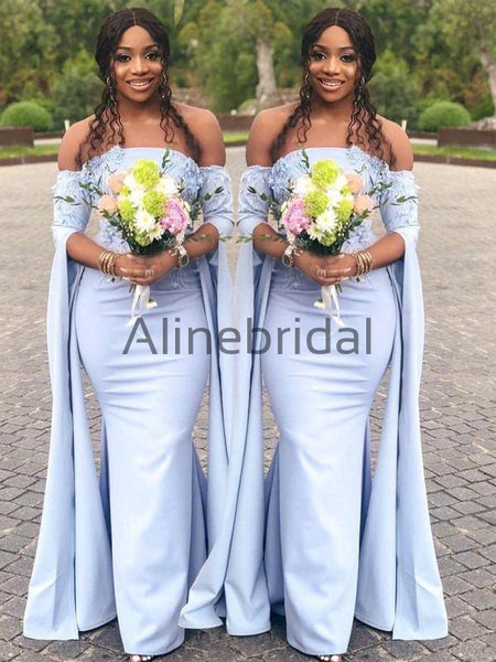Pale Blue Off Shoulder Unique Long Sleeve Mermaid Bridesmaid Dresses, AB4096